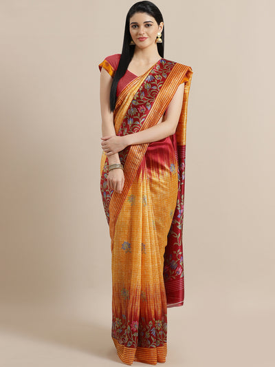 Chhabra 555 Mustard French Silk printed Saree with Lotus and Floral Two Toned Digital Design