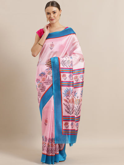 Chhabra 555 Rose Pink Bhagalpuri Silk printed Saree with Floral Digital Design and Contrast Blouse