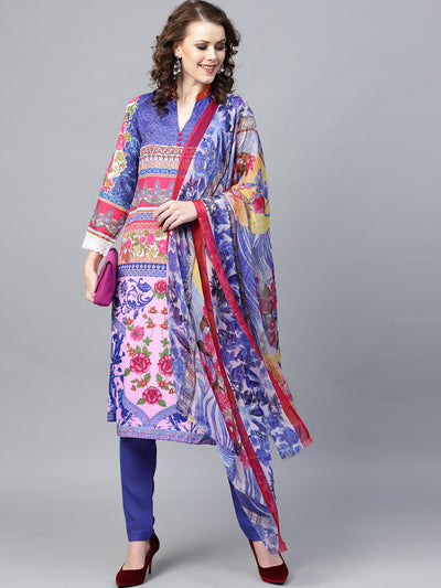 Chhabra 555 Blue Panelled Floral Printed Crepe Made-to-Measure Kurta Set with Chiffon Dupatta