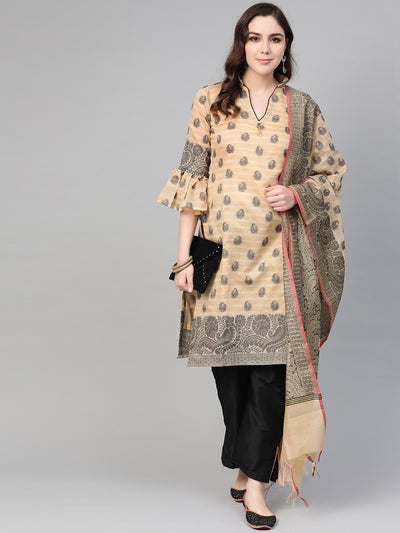 Chhabra 555 Made-to-Measure Banarasi Kurta Set with Resham Zari Weaving, Bell Sleeves and Handloom dupatta