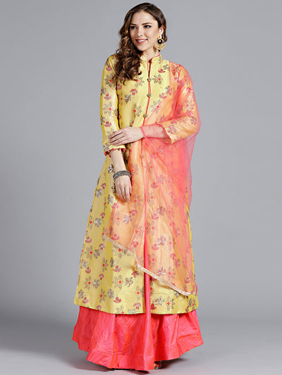 Chhabra 555 Mustard and Magenta Embroidered Silk Crop top Lehanga With Thread Work and all over heavy work Long jacket and beautiful Shirt coller with plain Dupatta