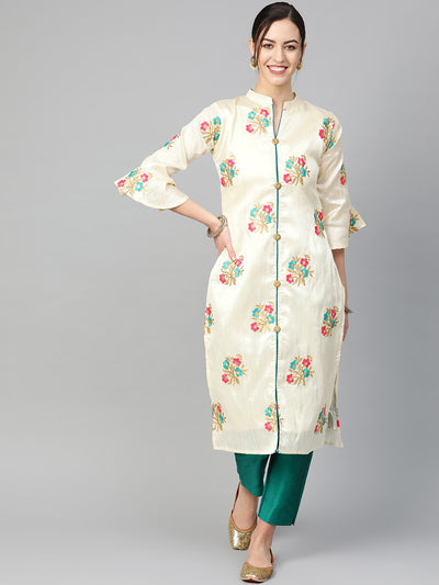 Chhabra 555 Made-to-Measure Pathani Style Kurta Set with Resham Zari embroidery in floral pattern