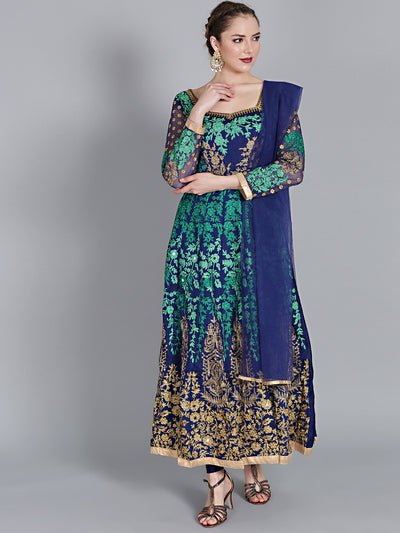 Chhabra 555 Blue and Golden Embellished Gown with Printed Swarovski and Zircon  Work on front neck and beautiful back neck with keyhole with Dupatta
