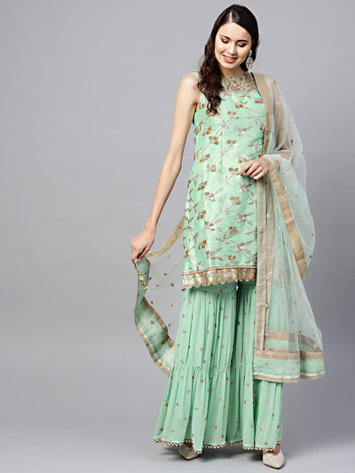 Chhabra 555 Made to Measure Sea Green Kurta Sharara Set with Zari Sequin Embroidery