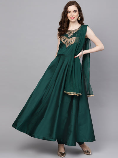 Chhabra 555 Green Silk Made-to-Measure Kurta Set with Zari Embroidery and Jewelled Neckline