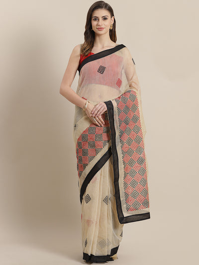 Chhabra 555 Chanderi Kota saree with intricate Resham Embroidery in a goemetrical pattern