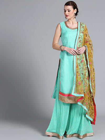 Chhabra 555 Aqua Blue Rubber Print Organza Kurta and pallazo with Floral embroidery Yellow Dupatta