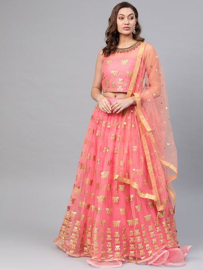 Chhabra 555 Made-to-Measure Crop Top Lehenga Set with Applique patchwork lotus motifs, ruffled hemline and kundan embroidered neckline