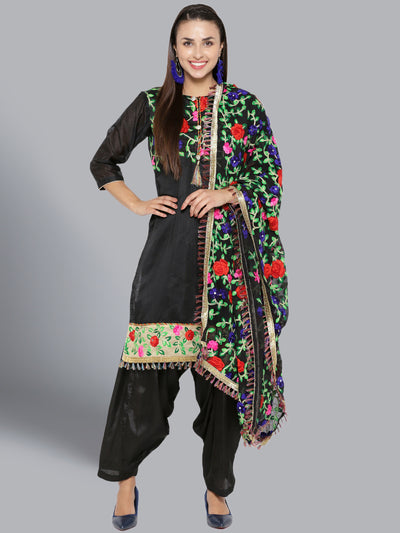Chhabra 555 Chanderi Dress Material with Floral Resham Phulkari Embroidery and Fringed Gota border
