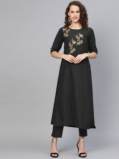 Chhabra 555 Made-to-Measure Crepe Kurta Set with Sequin, Zari embroidery and matching pants