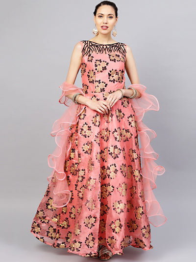 Chhabra 555 Pink Embellished Organza Gown with Gold Black Foil And Flock Print and Ruffled dupatta