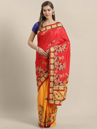 Chhabra 555 Kantha inspired Half and Half Banarasi Silk saree with Zari and Resham Embroidery