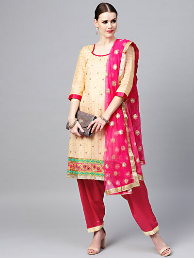 Chhabra 555 Chanderi Dress Material with Crystal Embellishements and Embroidered Border, Dupatta