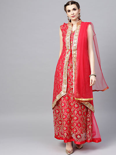 Chhabra 555 Made-to-Measure Red Net Anarkali Kurta Set with Zari embroidery and matching jacket