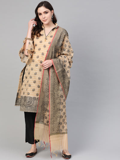 Chhabra 555 Beige Banarasi Handloom Dress Material with Zari Resham Weaving and Tassled dupatta