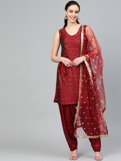 Chhabra 555 Made to Measure Maroon Kurta Set With Crystal embelishments, Patiala Salwar and Embroidered Dupatta