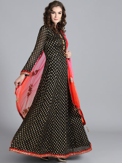 Chhabra 555 Black & Orange Khadi Georgette Woven Design Embellished Stitched Anarkali Kurta Set With Heavy Net Dupatta