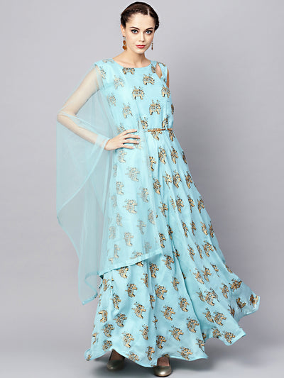 Chhabra 555 Turquoise Embellished Animal Print Dress with Belt, Dupatta and Cut-out keyhole pattern