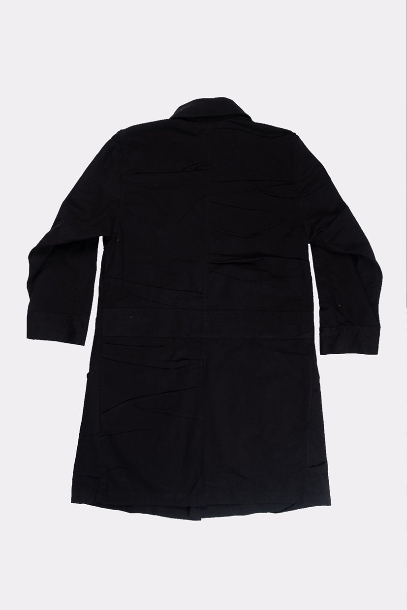 BLACK CREASED JERSEY COAT