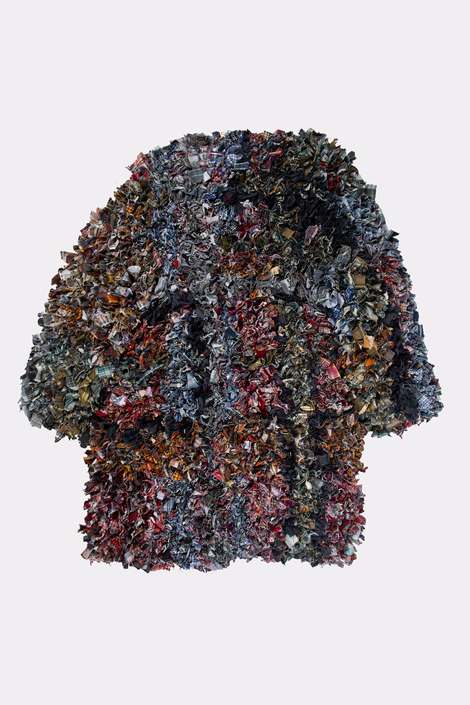 RUG COAT - Liam Hodges LTD, recycled, shredded, sustainable, coat, jacket, rug, London designer, menswear, unisex,