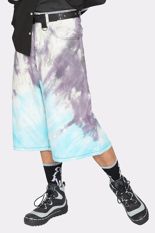 TIE DYED DENIM SHORTS