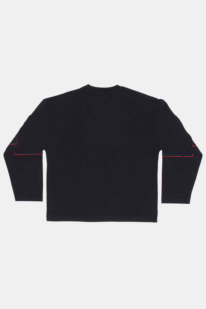 BLACK SHREDDED LONG SLEEVE - MEDIUM - Liam Hodges LTD