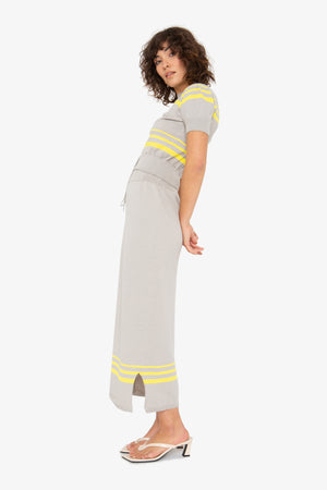 Genny Skirt - Grey Lemon Stripe