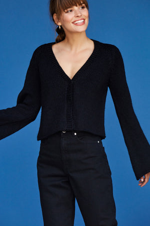 Bo Bell Sleeve Cardigan - Black