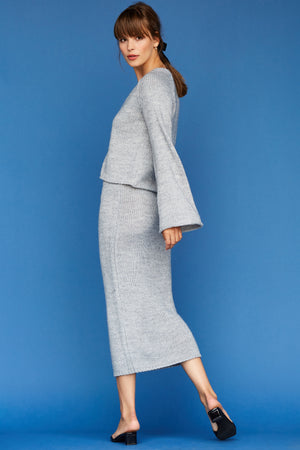 Bo Bell Sleeve Cardigan - Heather Grey