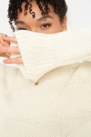The Geo Knit - Creme