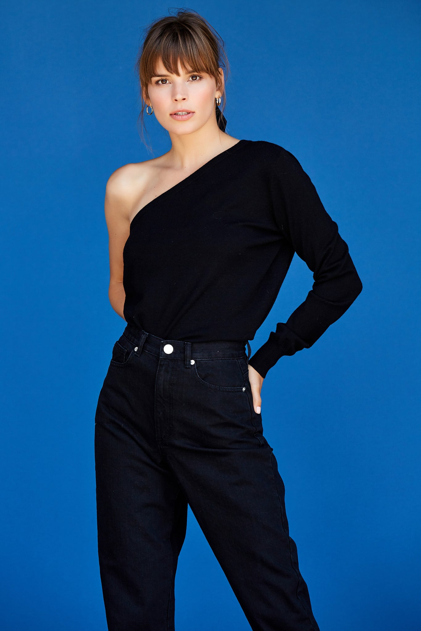 Emma One Shoulder Top - Black