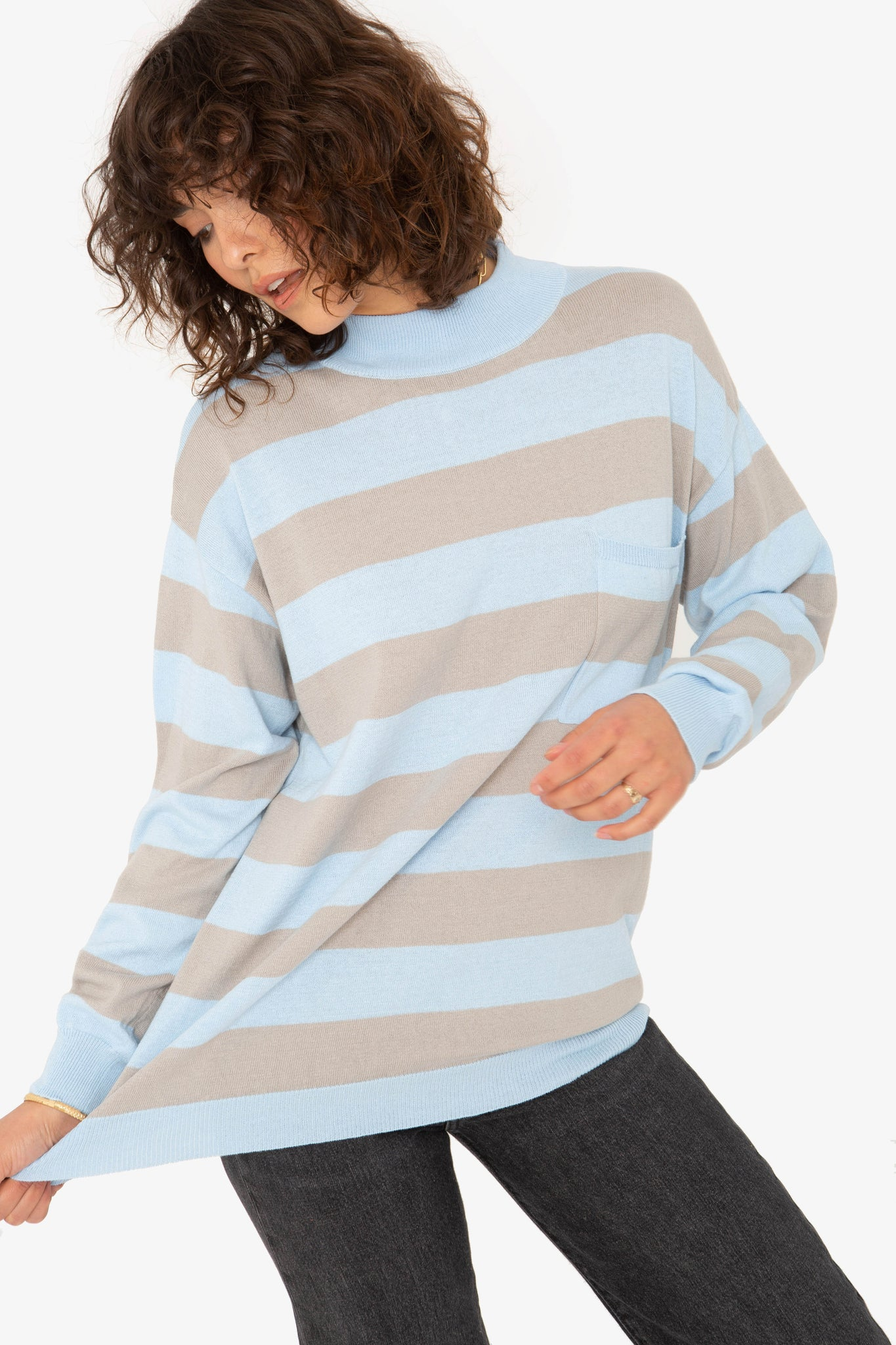 Smith Top - Blue Grey Stripe