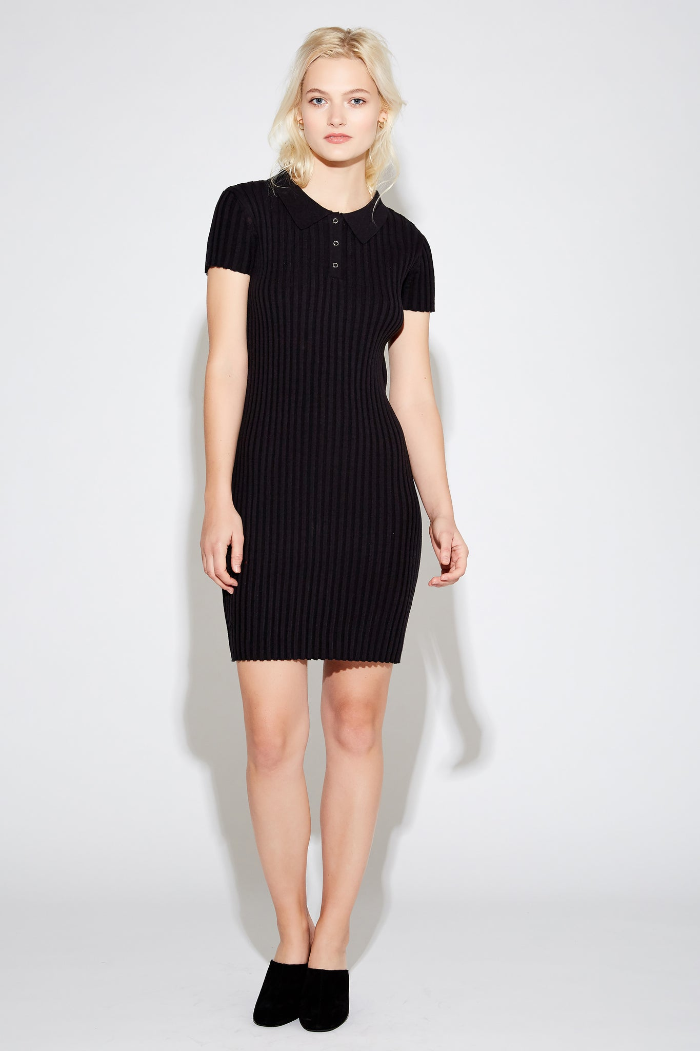Yollie Ribbed Dress - Black