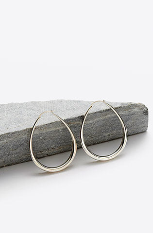 Medium Egg Hoop Earrings-sterling silver