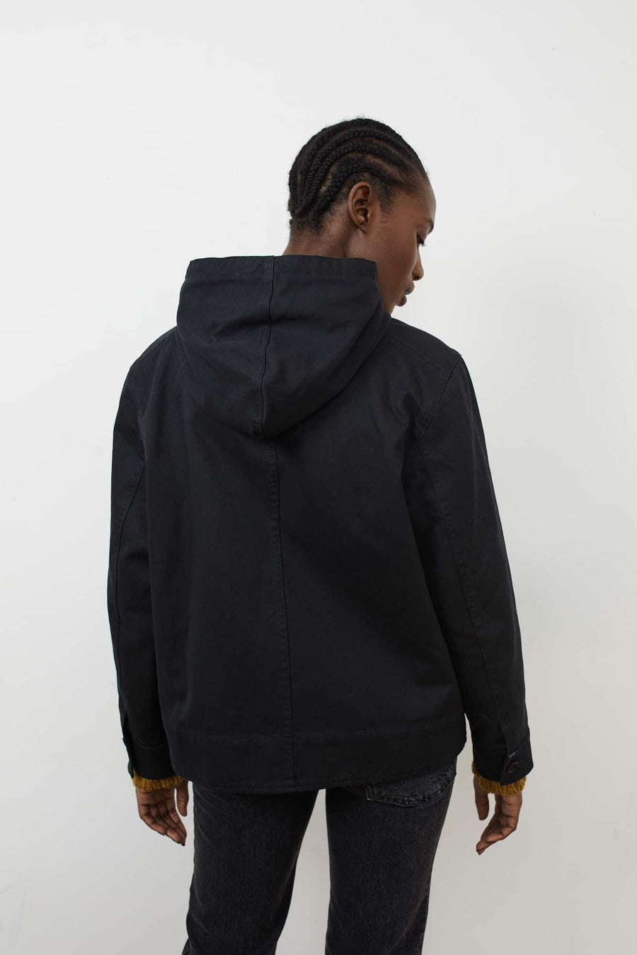 Cropped Hooded Jacket-black