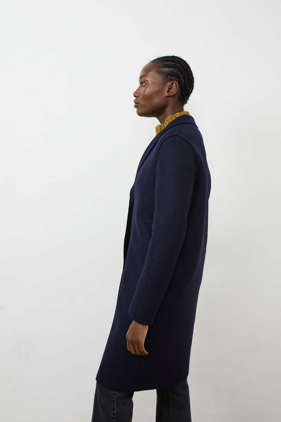 Pressed Wool Overcoat-navy blue