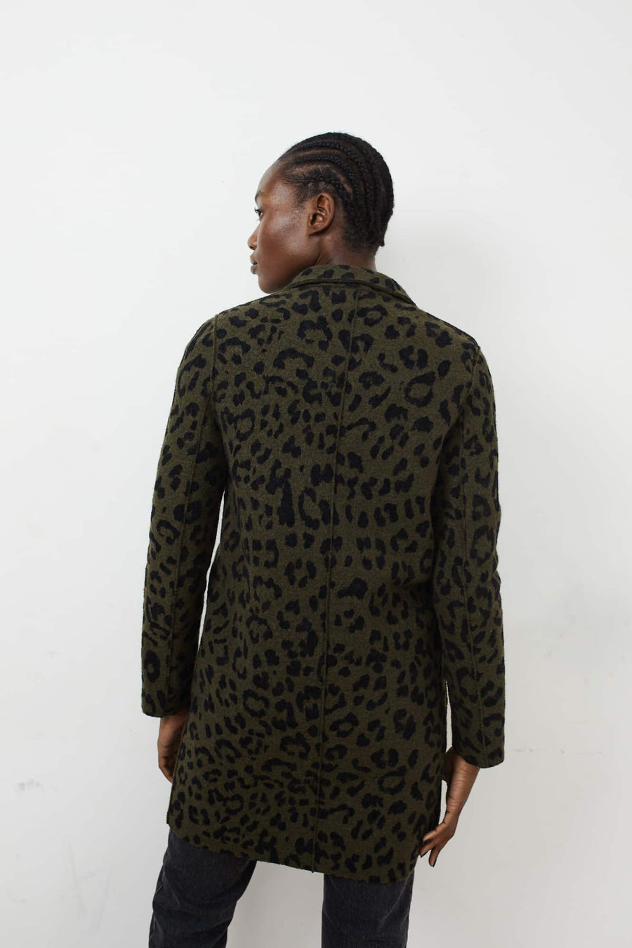 Boiled Wool Cocoon Coat-moss green