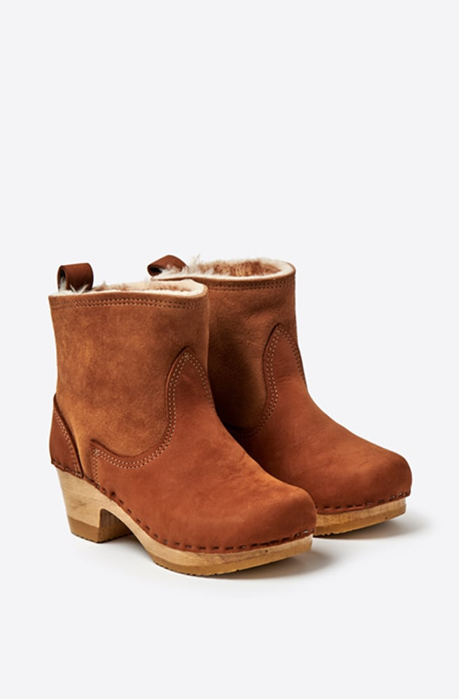 5 Shearling Suede Mid Heel Boot-natural