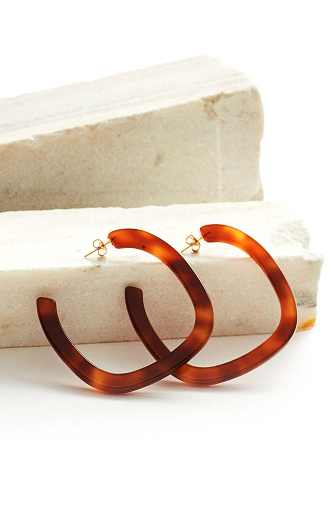 Large Square Hoop Earrings-caramel