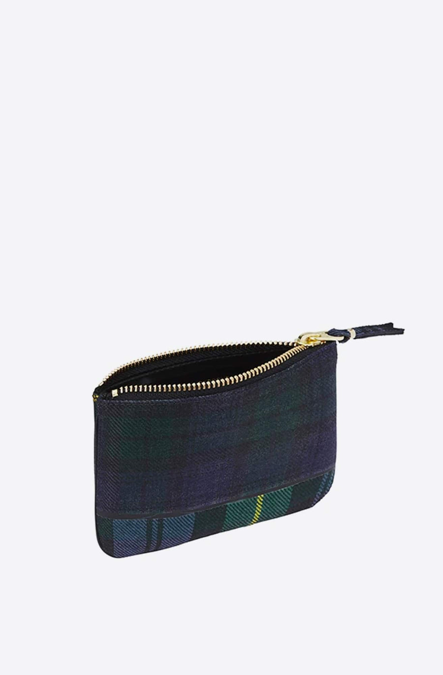Tartan Patchwork Small Zip Pouch-green