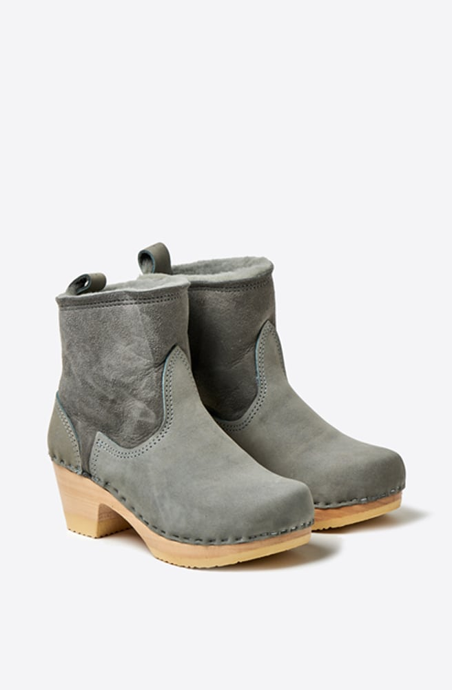 5 Shearling Suede Mid Heel Boot-steel/alaska w/white base