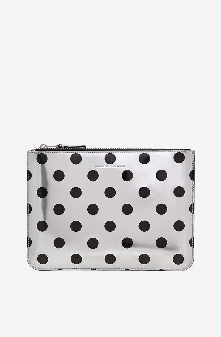 Optical Polka Dot Large Zip Pouch-dot/silver