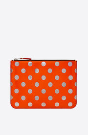Optical Polka Dot Large Zip Pouch-dot/orange