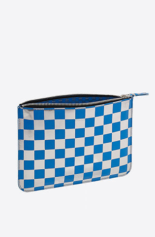 Optical Checker Large Zip Pouch-check/blue