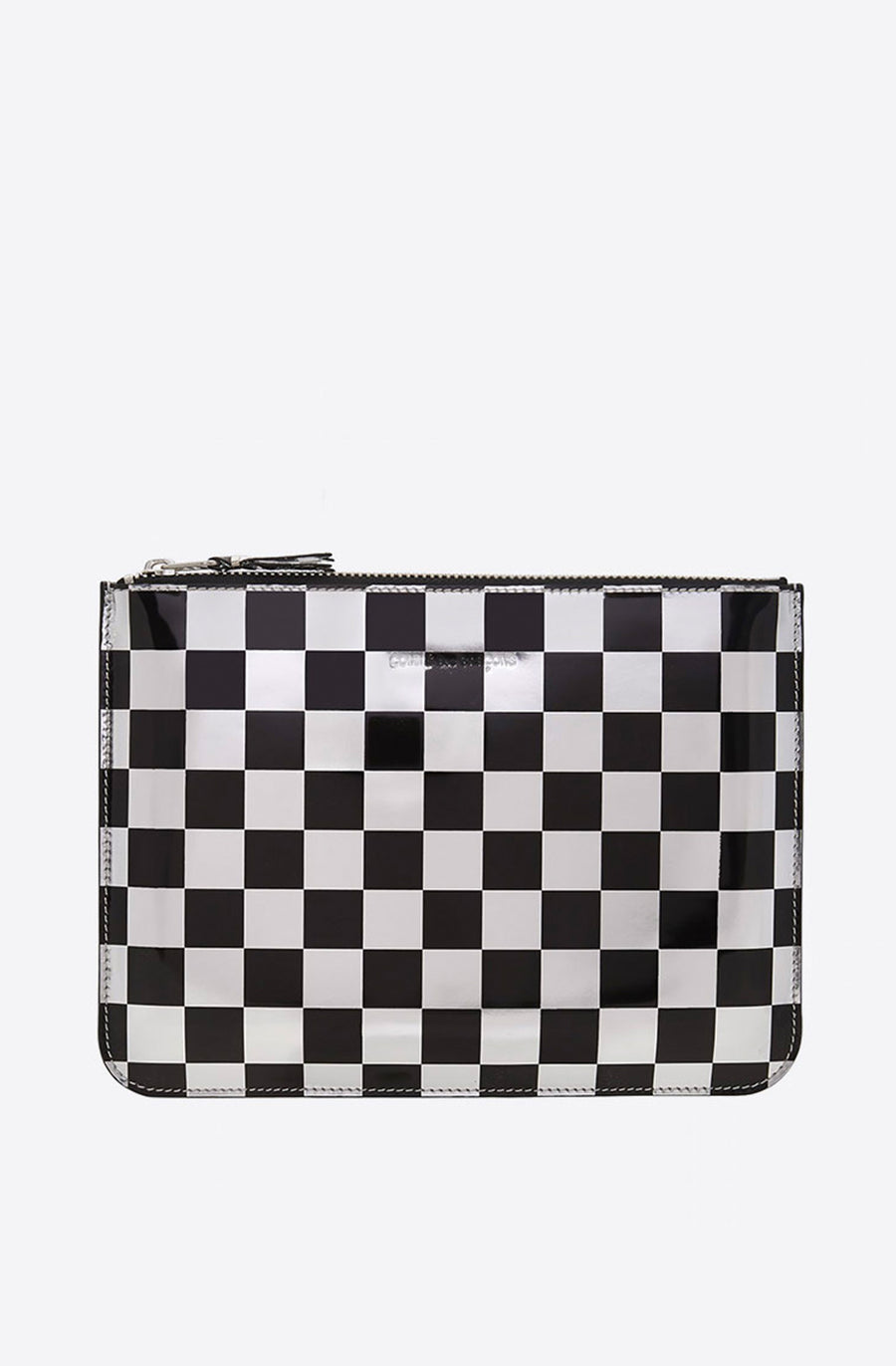 Optical Checker Large Zip Pouch-check/silver