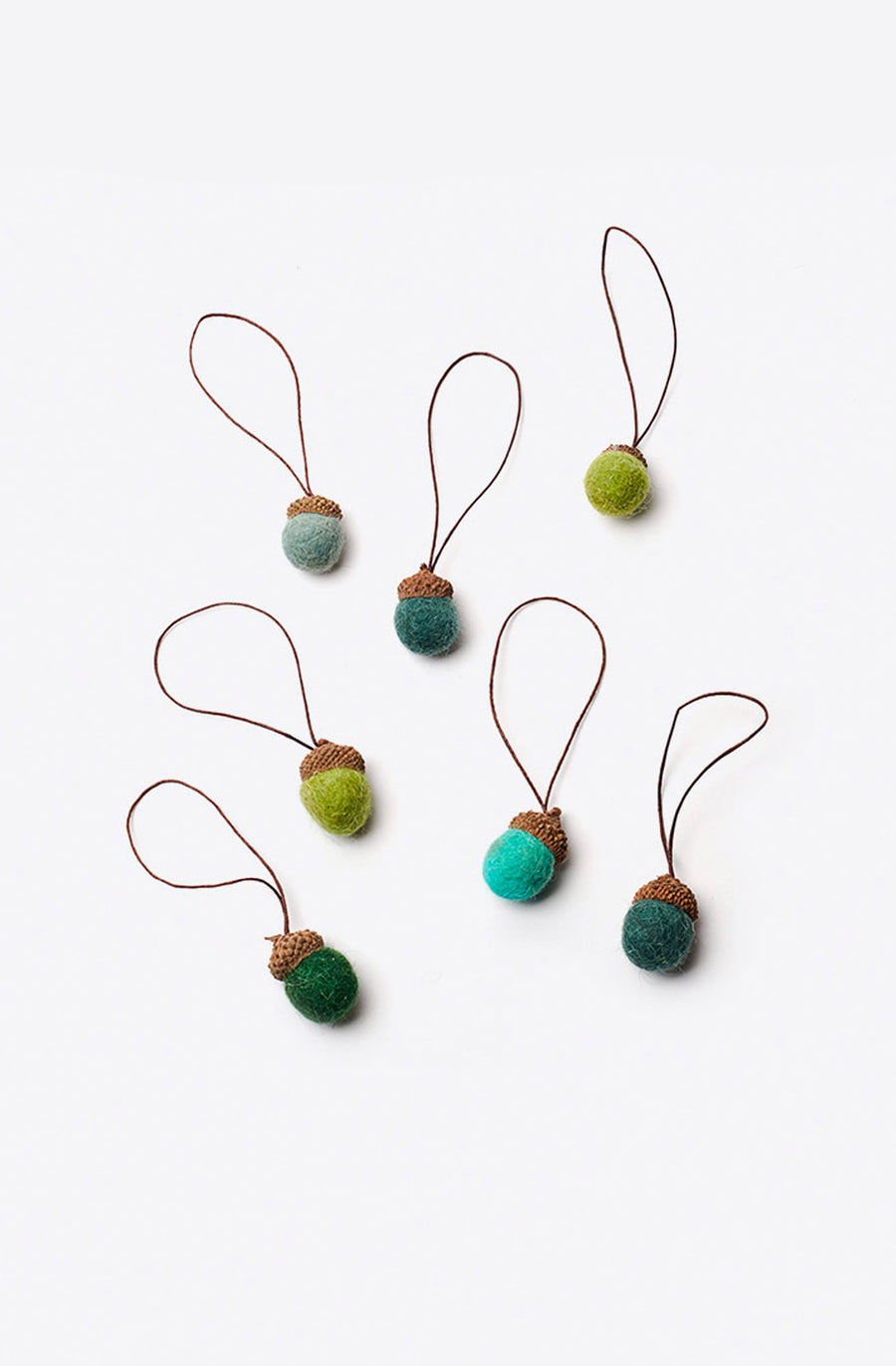 Green Wildwool Felt Acorn Ornament-multi