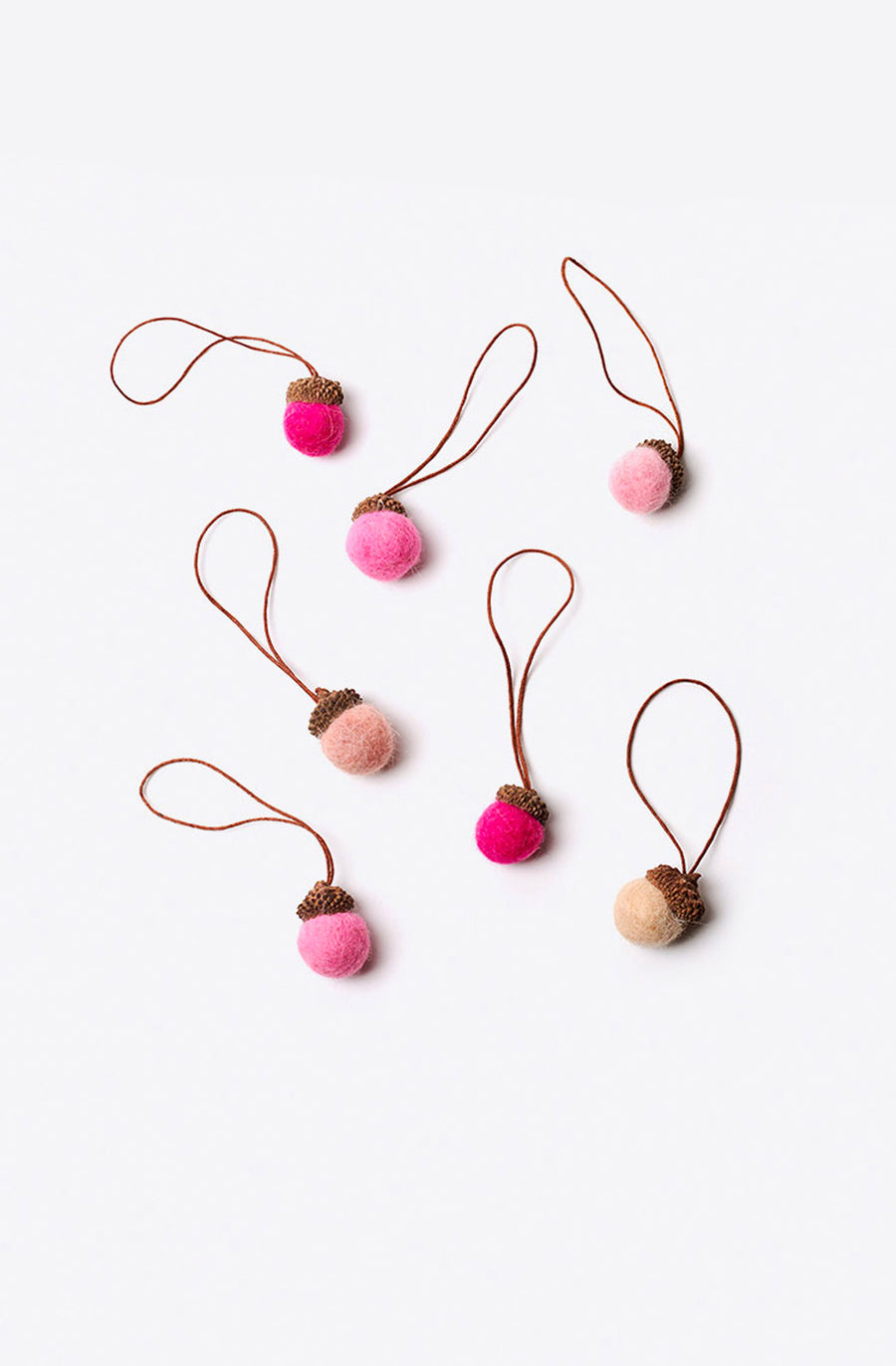 Pink Wildwool Felt Acorn Ornament-multi