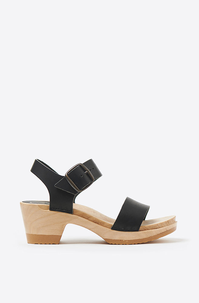 Two Strap Mid Heel Clog-coal