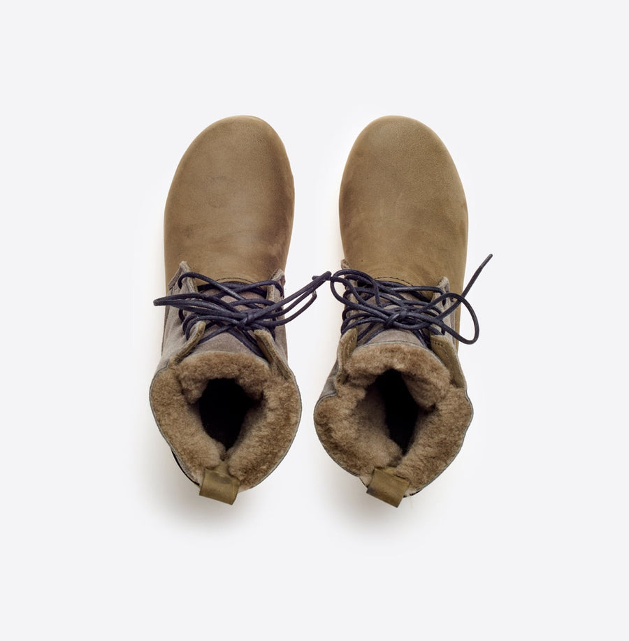 Lander Shearling Lace Up Boot-storm suede/white base