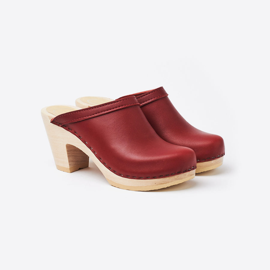 Old School High Heel Clog-red leather